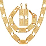 VirtualStoreUSA.com Square Islamic Religious Necklace Earrings Bracelet Muslim Jewelry Set