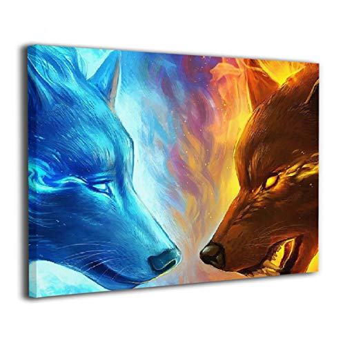 Achujuyou Modern Wall Art On Canvas Ice and Fire Wolves Frameless Artwork Bedroom Living Room Decorative Painting Modern Gallery 16