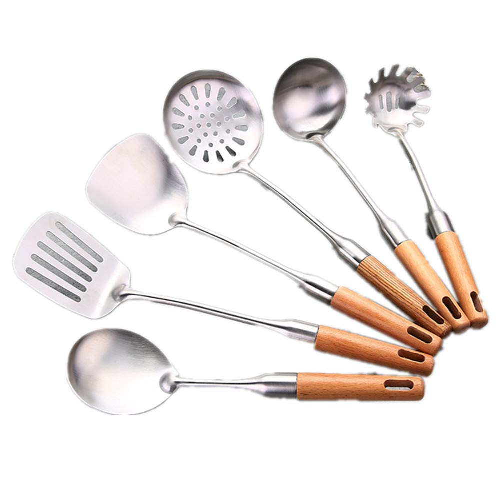 Kebukeyi Spoon Stainless Steel 6-Piece Kitchen Cooking Utensils