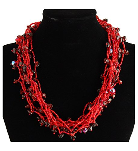 """NE101-111 Crystal Glass Bead Full of Goodies Necklace 19"""" Red Magnetic Clasp New from Unknown"""