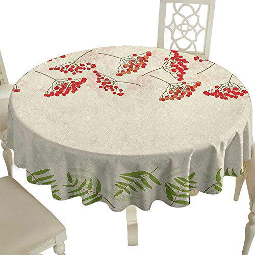 Cranekey Flower Tablecloth 54 Inch Rowan,Graphic Border Design Berries Mountain Ashes Botanical Nature Themed Vermilion Ivory Fern Green Great for,Holiday Dinner & ()