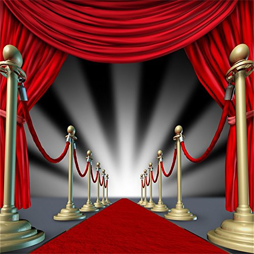 AOFOTO 7x7ft Stage Fence Photography Background Red Carpet Backdrop Event Abstract Velvet Curtain Award Ceremony Party Decoration Celebration Activity Banner Photo Shoot Studio Props Vinyl Wallpaper