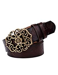 Fashion Ms Retro Genuine Leather Leather Belt,Brown-onesize