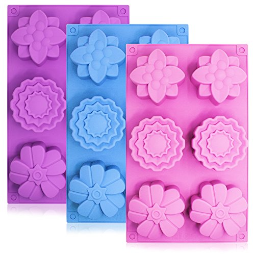3 Pieces Silicone Flower Cake Molds SENHAI 6Cavity Muffin Jelly Tart Bread Dessert Baking Pans Chocolate Soap Making Trays  Pink Blue Purple