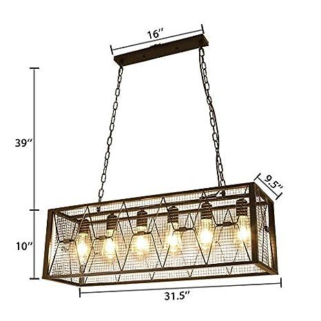 Amazon.com: NIUYAO - Lámpara de techo rectangular de 12.4 in ...