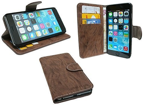 Elegante Buch-Tasche für das Iphone 6 PLUS in Coffee Braun Wallet Book-Style @ Energmix
