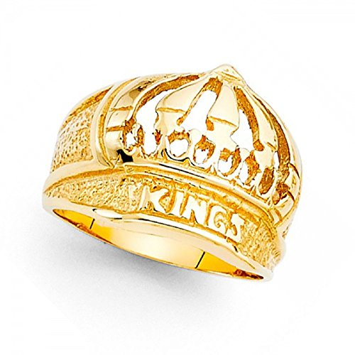 Kings Crown Ring Solid 14k Yellow Gold Hip Hop Style Band Polished Genuine Heavy Men 15MM Size 8.5 by GemApex