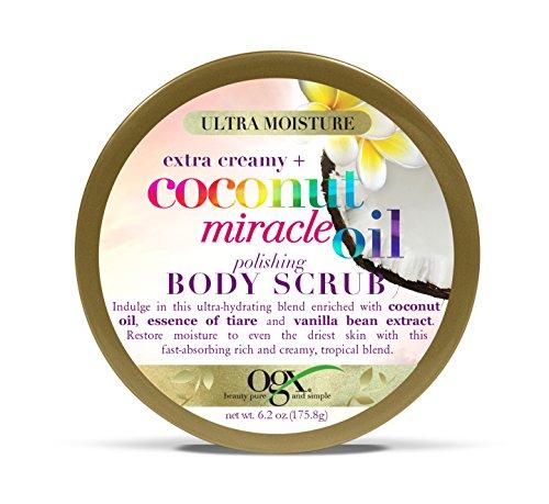 OGX Extra Creamy + Coconut Miracle Oil Ultra Moisture Polishing Body Scrub, 6 -