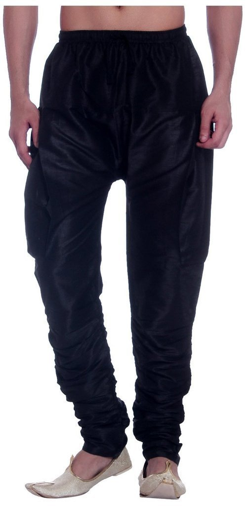 Royal Kurta Men's Art Silk Fine Quality Ready to Wear Harem Pant Free Size Black