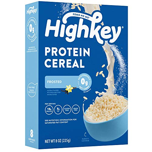 HighKey Keto Protein Breakfast Cereal - 0 Net Carb & Zero Sugar, Grain & Gluten Free Cereals Snack - Non GMO Food - Paleo, Diabetic, Ketogenic Diet Friendly Flakes - Healthy Grocery Foods - Frosted