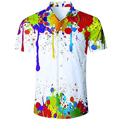 Toimothcn Men's Tropical Floral Print Hawaiian Shirt Short Sleeve Lapel Button Down Aloha Shirt ()