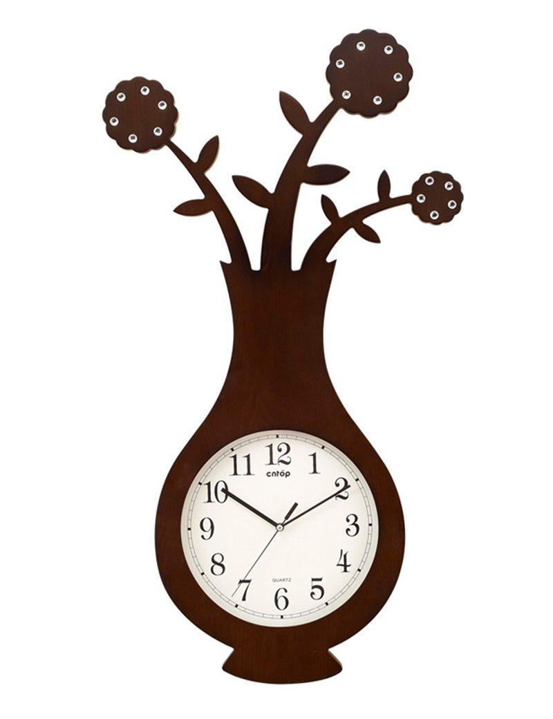 Cai 置き時計掛け時計-12インチの装飾花瓶木製の壁時計リビングルームパーソナライズされた木製時計ファッションクリエイティブウォールクロック(カラーオプション) ( 色 : A ) B07C5C9811 A A