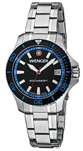 Wenger Women's 0621.104 Sea Force 3 H Analog Display Swiss Quartz Black Watch