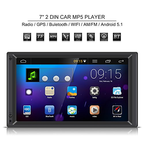 7 Inch Double Din Touch Screen Car Stereo Audio Radio Receiver MP5 Player Rear View Camera with GPS Navigation Wifi AM/FM (Euro ()