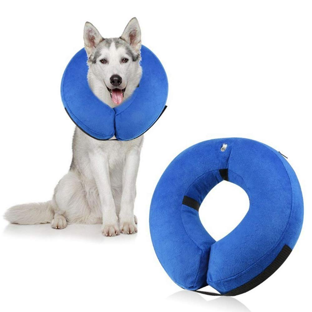 bluee M bluee M Kirabon Inflatable Predective Collar Pet Grooming Predection Collar (color   bluee, Size   M)