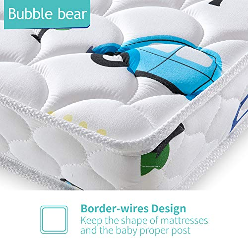 51ChJduL7QL - 【2020 Kids' Favorites】 Bubble Bear Foam Crib Mattress And Toddler Mattress -Comfortable And Breathable & Solid Safety Edge & Size:52X27.6X5(Cute Car)