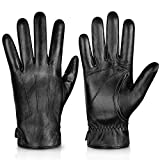 Genuine Sheepskin Leather Gloves For Men, Winter Warm Touchscreen...