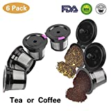 6-Pack Reusable K Cups, Refillable K Cup Empty Coffee Capsule Filter Pod for Keurig 2.0 & 1.0 Brewers Coffee K-cup Capsule Machine by STYDDI