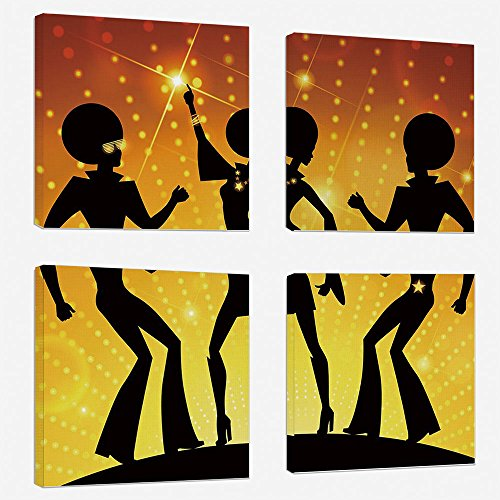 4 Pcs/set Modern Painting Canvas Prints Wall Art For Home Decoration 70s Party Decorations Print On Canvas Giclee Artwork For Wall DecorDancing People Disco Night Club Afro Hairs Gold Colored Bokeh De