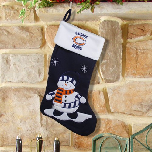 NFL Chicago Bears Fabric Snowman Stocking - Navy Blue