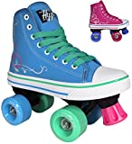 #2: Roller Skates for Girls | HYPE Pixie Kid's Quad Roller Skates with High Top Shoe Style for Indoor / Outdoor Skating | Durable, Easy to Skate, Made for Kids (Blue, Pink)