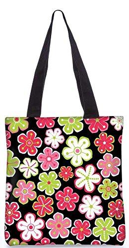 """Snoogg Bunten Blumen Schwarzes Muster-Einkaufstasche 13,5 X 15 In """"Shopping-Dienstprogramm Tragetasche Aus Polyester Canvas"""