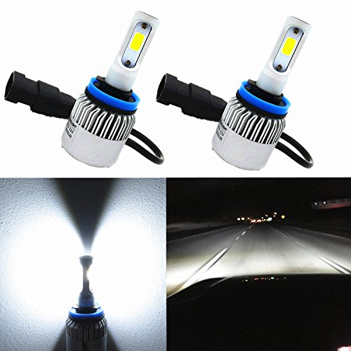 Alla Lighting 8000lm Xtremely Super Bright 6500K Xenon White High Power COB Mini H11 H8 H9 H11LL H8LL LED Headlight Conversion Kits Bulbs for Replacing Halogen Headlamp (White Halogen Headlamp Bulb)