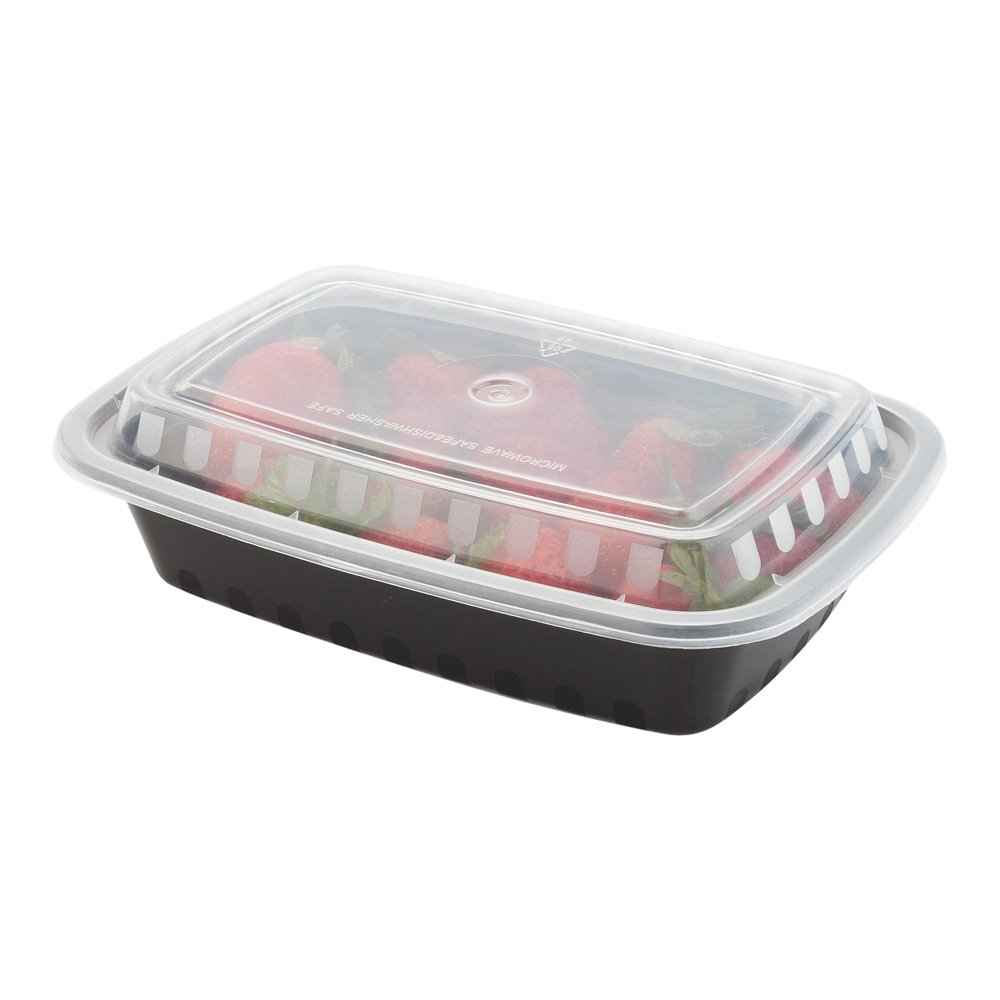 24-OZ Asporto Microwavable To-Go Container - PP Black Rectangular Food Container with Clear Plastic Lid: Perfect for Catering Events and Restaurant Takeout – Disposable and Eco-Friendly – 100-CT by Restaurantware (Image #4)
