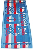 Super Boardwalk Large Size Soft Quality Great Patterns Cotton Beach Pool Summer Towel (Red-White-Bue Stripe)
