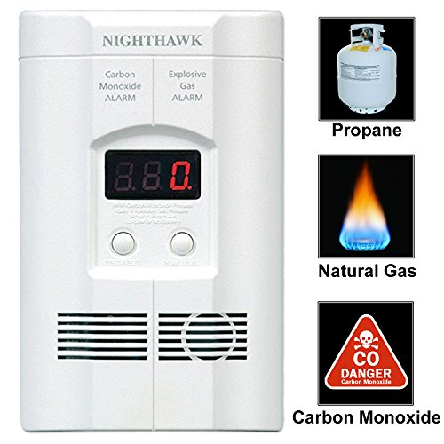 Nighthawk Plug-in Carbon Monoxide & Explosive Gas Detector Alarm with Digital Display | Model KN-COEG-3