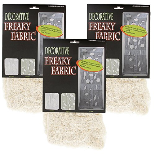 Halloween Haunters Cream Freaky Loose Weave Creepy Cloth Fabric (Pack of 3) - Drape on Props and Decor for Spooky, Scary Haunted Houses