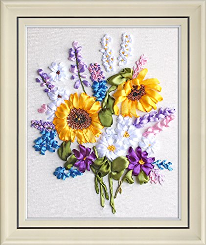 Ribbon embroidery Kit,Fanryn 3D Silk ribbon embroidery Sunflower Flowers pattern design Cross Stitch Kit Embroidery for beginner DIY Handwork Home Decoration Wall Decor 40x50cm (No frame) ()