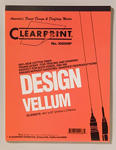 Clearprint 1000H Design Vellum Pad, 16 lb, 100% Cotton, 8-1/2 x 11 Inches, 50 Sheets, Translucent White, 1 Each ()