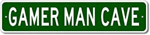 Gamer Man CAVE Sign - Personalized Aluminum Last Name Street Sign - 4 x 18 Inches