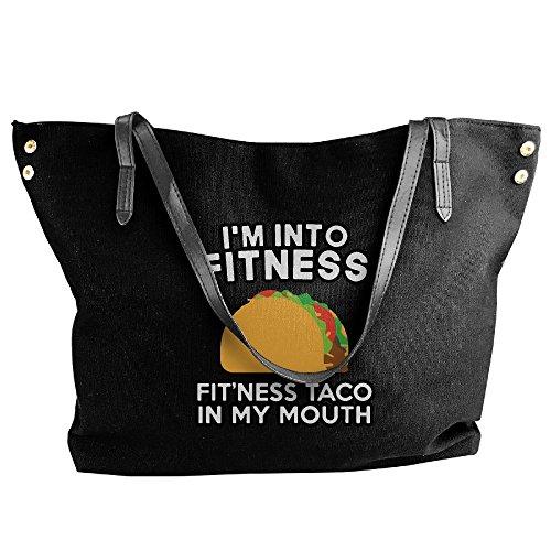 Canvas Fitness Shoulder Women's Black Handbags Taco Large Tote Handbag fRdzxqzXw
