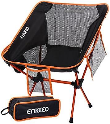 ENKEEO Silla de Camping Ultraligero Portátil Plegable con Bolsa de Transporte, Capacidad hasta 330lbs/150kg, para Senderismo, Viaje, Pesca, Playa, ...