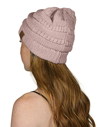 Thick Slouchy Knit Unisex Beanie Cap Hat,One Size,Light Rose ()