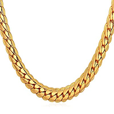 "U7 18K Gold Plated Necklace With ""18K"" Stamp Men Jewelry 4 Colors 6 MM - 9MM Wide Snake Chain Necklace ,18""-32"""