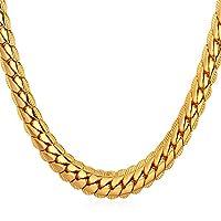 U7 18KGP Cadena chapada en oro para hombres Joyería de verano Collar de cadena de serpiente única de 6 mm 18 pulgadas