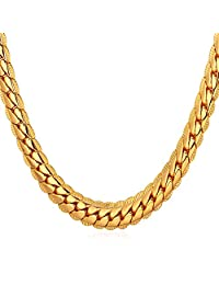 """U7 18K Gold Plated Necklace With """"18K"""" Stamp Men Jewelry 4 Colors 6 MM Wide Snake Chain Necklace ,18""""-32"""""""