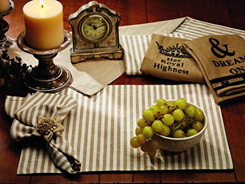 Olivia's Heartland Au Natural Collection Cream & Burlap Stripe Reversible Cotton Table Placemat - Set of - Au Collection Natural