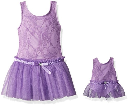 Dollie & Me Little Girls' Skirted Lace Leotard and Matching Doll Outfit, Purple, S (Me Doll)