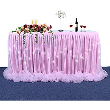 LED Table Skirt Long Tulle Light Up Table Skirt For Rectangle Table For  Round Table For Birthday Party, Baby Shower And Wedding Decoration(Pink 9FT)
