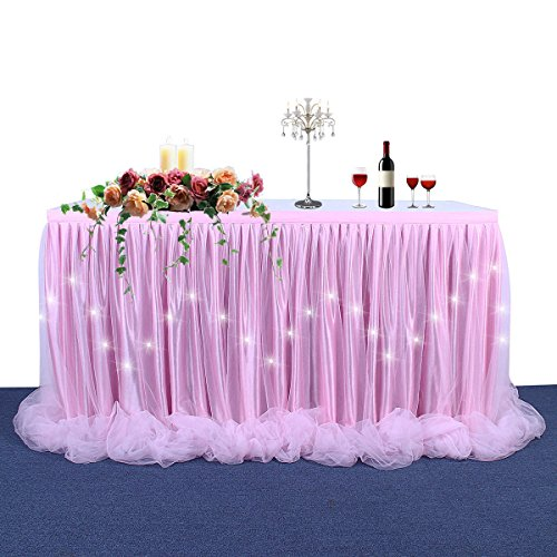LED Table Skirt Light Up Tutu Table Skirt Long Tulle Tableware For Rectangle Table For Round Table For Birthday Party, Baby Shower and Wedding Decoration(Pink Table Skirt 6FT)