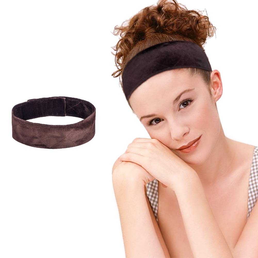 MelodySusie Wig Grip Headband, No Slippage, Protect Edges and Head, Adjustable, Fits Head from 20 inches to 25 inches, Elastic Velvet Headband Hook for Wig Scarf Hat, Brown