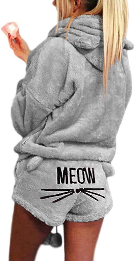 Siwetg Juego De Pijama Para Mujer Y Nina Con Diseno De Gato Manga Larga Con Capucha Tallas Grandes Para Invierno Tallas S 5xl A S Amazon Es Ropa Y Accesorios