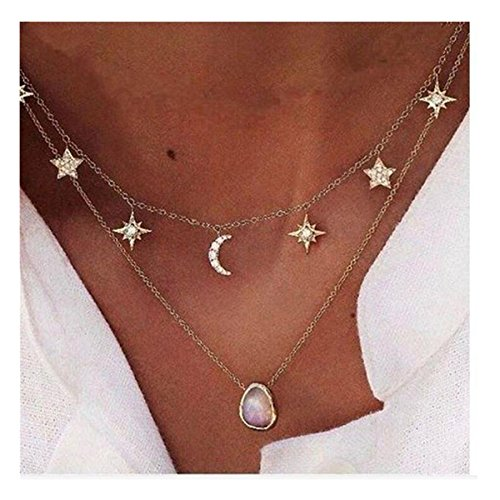 Womens Sexy Chain Stars Crescent Diamond Double-Deck Necklace with Water Drop Gemstone Pendant Jewelry Gifts -