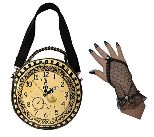Banned Brown Black Steampunk Gothic Large Clock Shoulder Hand Bag + Lace Gloves