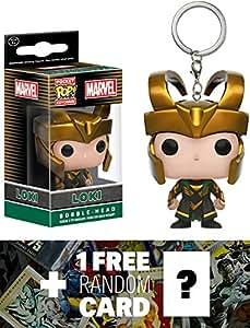 Loki: Pocket POP! x Marvel Universe Mini-Figure Keychain + 1 FREE Official Marvel Trading Card Bundle (049850)