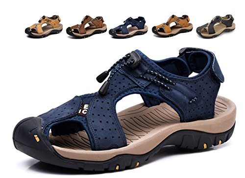 Asifn Athletic Sport Sandals Outdoor Men Summer Fisherman Beach Leather Casual Shoes Breathable Strap Hiking Walking,Blue,8/8.5 US